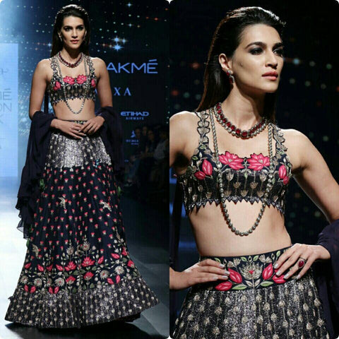Impressive Multi Color Embroidered Semi-stitched Lehenga Choli