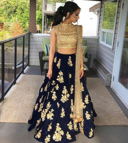 Magical Blue Color Embroidered Semi-stitched Lehenga Choli