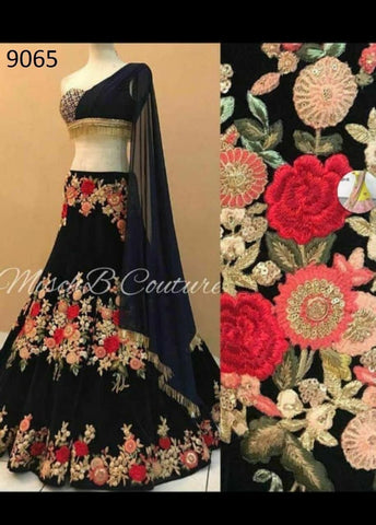 Deserving Black Color Embroidered Semi-stitched Lehenga Choli