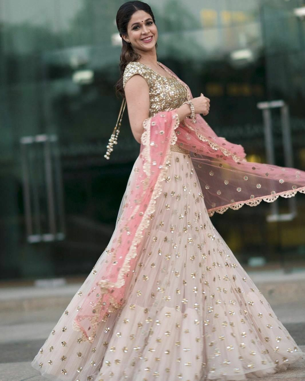 Beautiful Off White Color Embroidered Semi-stitched Party Wear Lehenga Choli