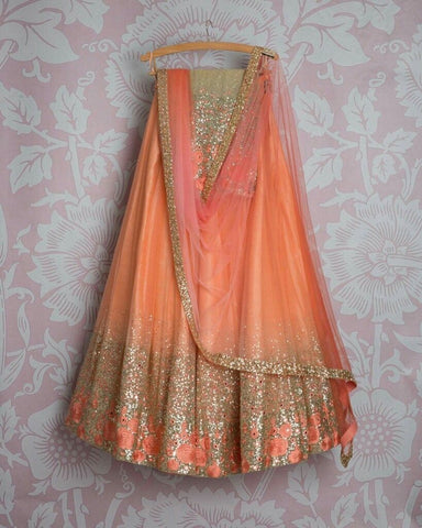 Designer Orange Color Embroidered Semi-stitched Party Wear Lehenga Choli