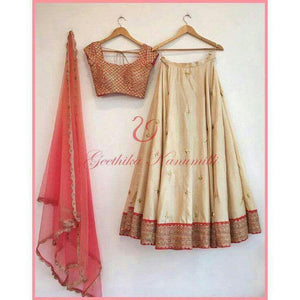 Beautiful Cream Color Embroidered Semi-stitched Party Wear Lehenga Choli