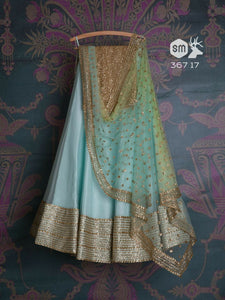 Awsome Sky Blue Color Embroidered Semi-stitched Party Wear Lehenga Choli