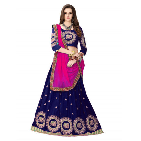 Designer Navy Blue Color Embroidered Semi-stitched Party-wear Lehenga Choli