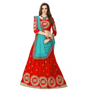 Designer Red Color Embroidered Semi-stitched Party-wear Lehenga Choli