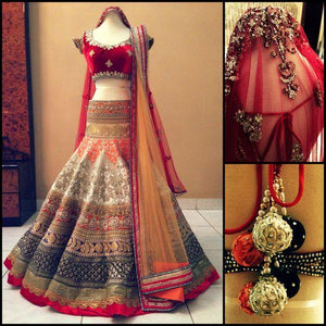 Bridal Multi Color Embroidered Semi-stitched Wedding Lehenga Choli