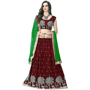 Designer Chocolate Color Embroidered Semi-stitched Party-wear Lehenga Choli