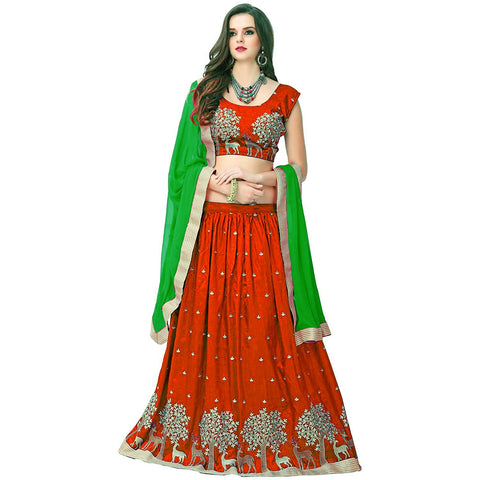 Designer Orange Color Embroidered Semi-stitched Party-wear Lehenga Choli
