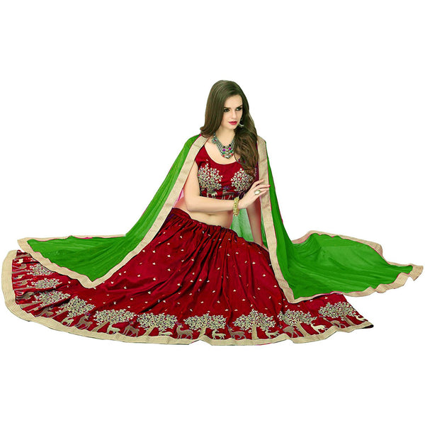 Designer Maroon Color Embroidered Semi-stitched Party-wear Lehenga Choli