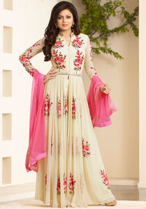 Designer Anarkali Salwar Suit with Embroidery Work- Honey Cream