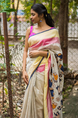 Amazing Off White Color Lelen Digital Printed Saree MS-1039