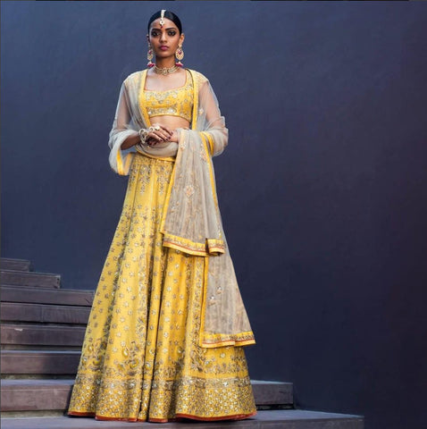 New Designer Yallow Color Embroidered Lahenga Choli - JN-003