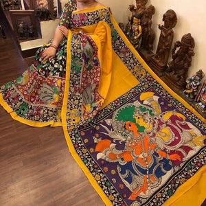 KalamKari Linen Digital Printed Saree MS-1194