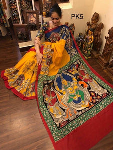 KalamKari Linen Digital Printed Saree MS-1196