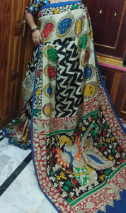 KalamKari Linen Digital Printed Saree MS-1198