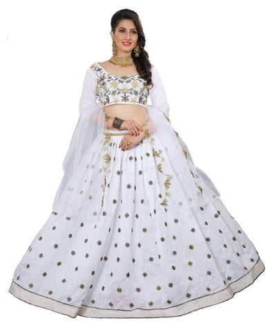 Exclusive White New Designer Embroidery Lehenga Choli