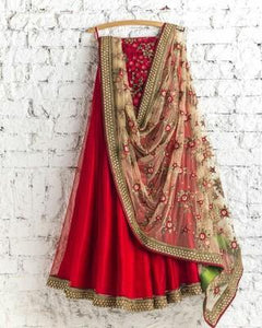 Beautiful Red Colored Party Wear Embroidered Net Lehenga