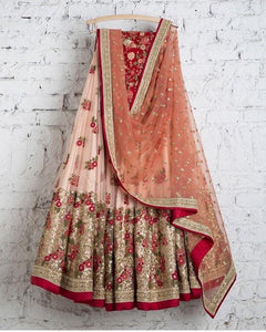Beautiful Peach Colored Wedding Wear Embroidered Net Lahenga