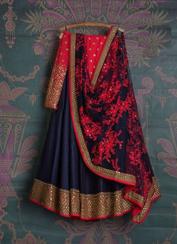 Trendy Navy Blue Party Wear Embroidered Mulberry Silk Lehenga