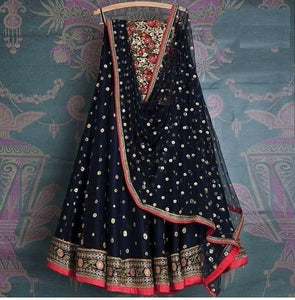 Designer Navy Blue  Colored Party Wear Embroidered Net Lahenga