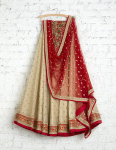 New Look Light Beige Colored Party Wear Embroidered Net Lahenga
