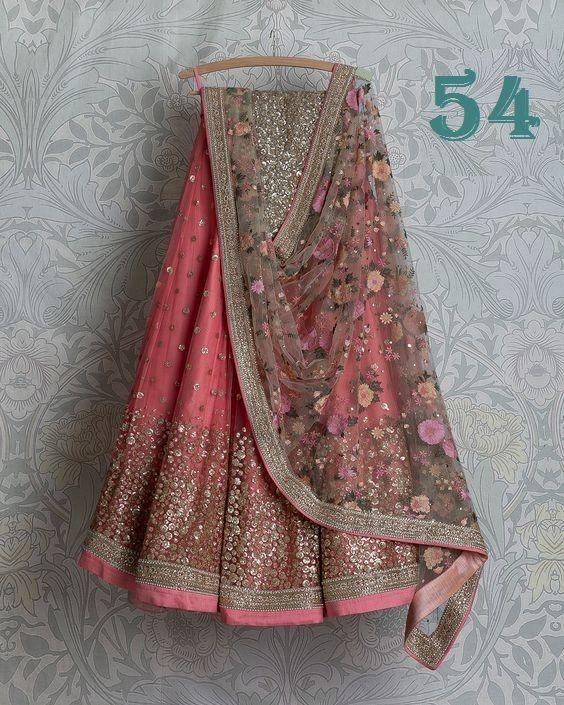 New Fancy Designer Pink Color Embroidered Work Lehenga choli