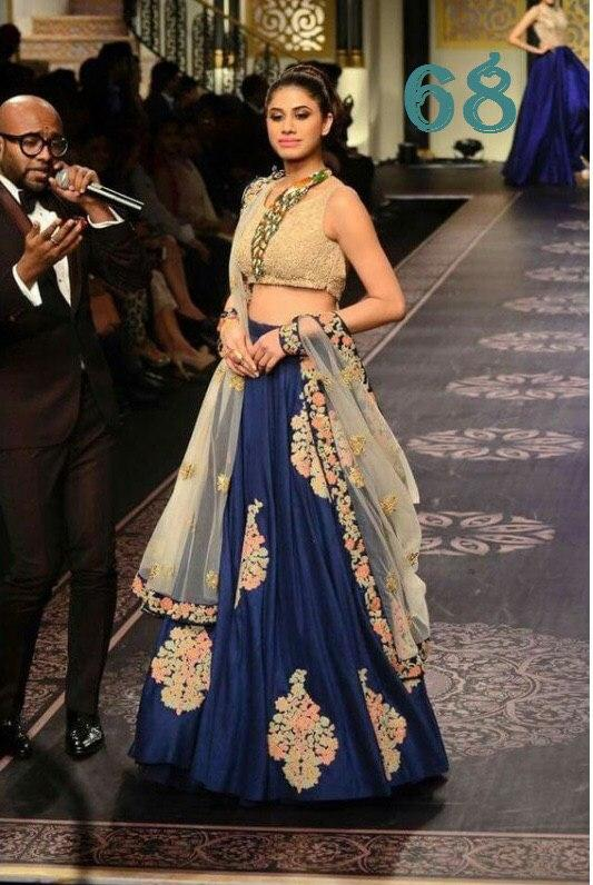 New Look Designer Navy Blue Color Embroidery Work Lehenga choli