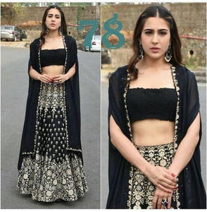 BEAUTIFUL BLACK HEAVY EMBROIDERY LEHENGA CHOLI SET