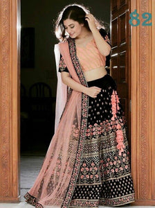 BLACK DESIGNER WEAR BEAUTIFUL BLACK HEAVY EMBROIDERY LEHENGA CHOLI SET