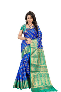 Lotus Mor Blue Color Pure Banarasi Silk Saree