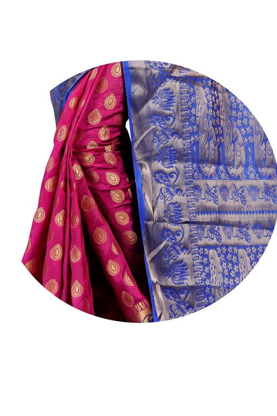 Lotus Mor Magenta Color Pure Banarasi Silk Saree