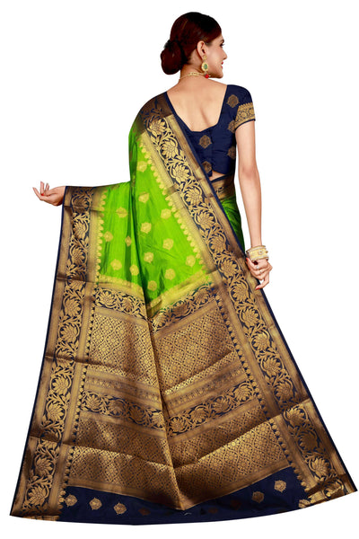 Lotus Border Parrot Green Color Pure Banarasi Silk Saree