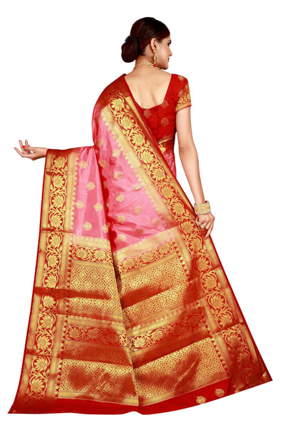 Lotus Border Pink Color Pure Banarasi Silk Saree