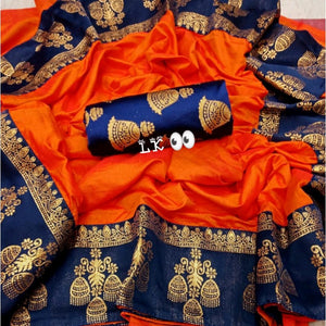 GITANJALI ORANGE COLOR PAPER SILK SAREE BINDU-LSA1001