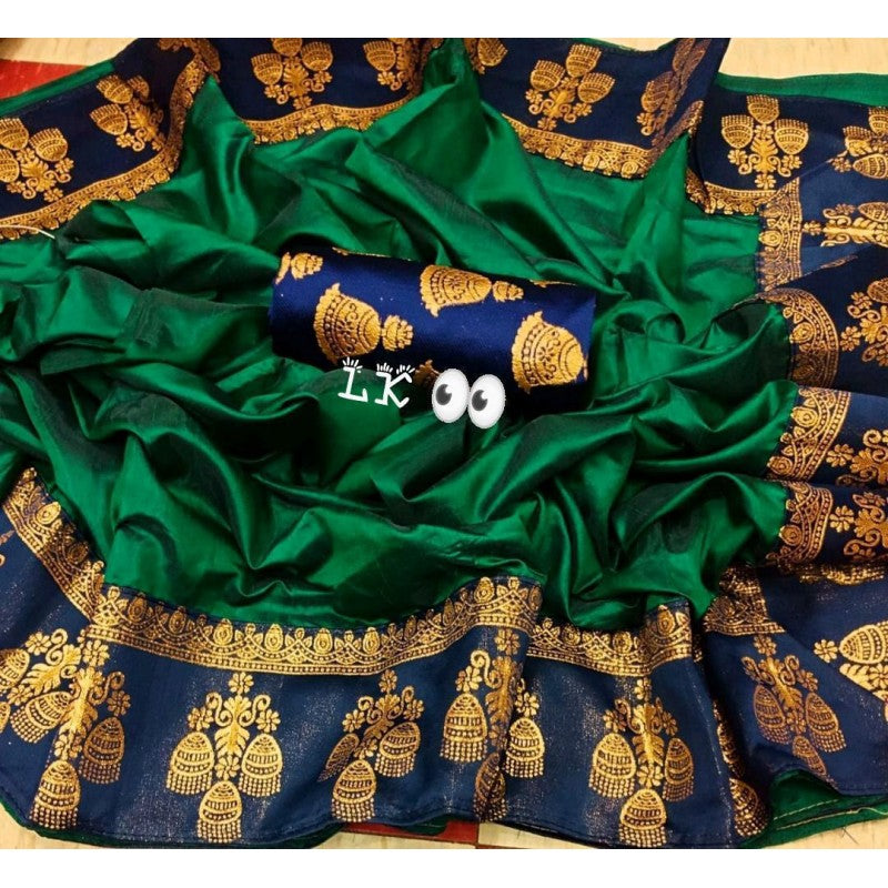 GITANJALI DARK GREEN COLOR PAPER SILK SAREE BINDU-LSA1005