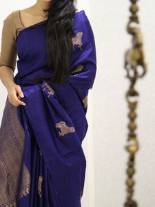 Awosome Blue Soft Silk Designer Saree UK1021