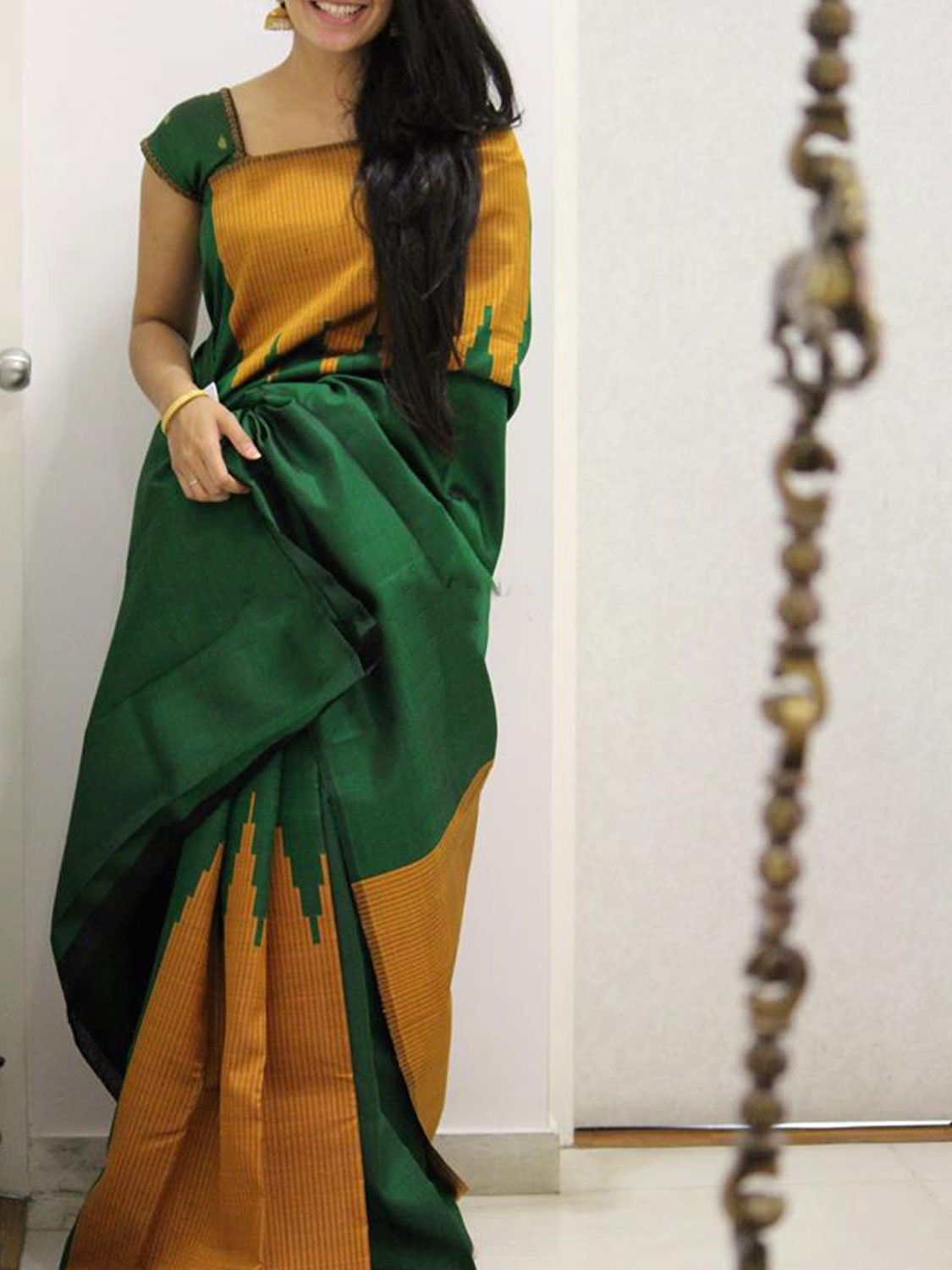 Green Perrot Colour Soft Silk Designer Saree UK1046