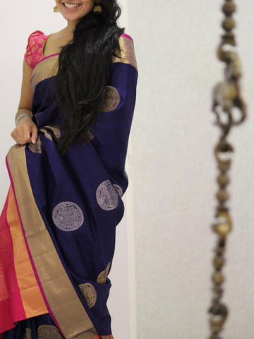 Blue Colour Soft Silk Designer Saree UK1047