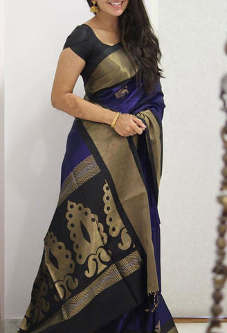 Blue black Colour Soft Silk Designer Saree UK1102