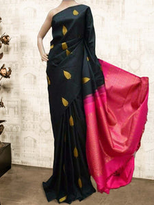 Blacked Soft Silk Designer Saree UK596