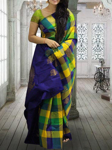 Blue Yellow Mix Soft Silk Designer Saree UK620