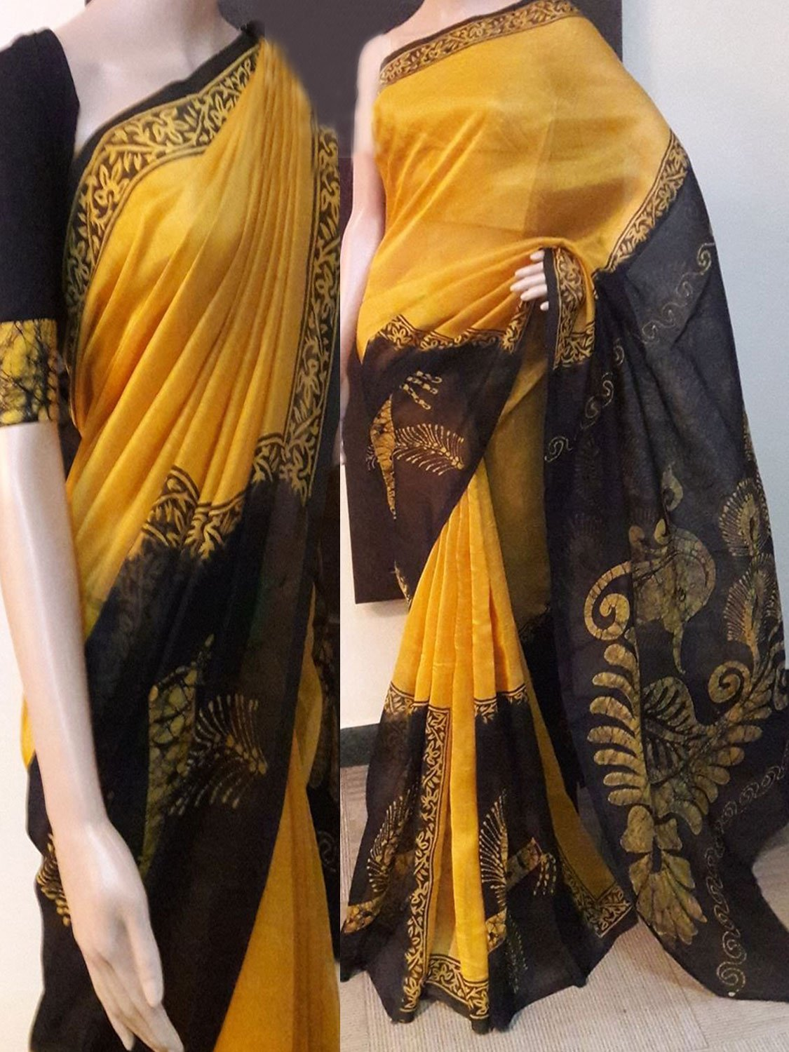 Yellow Black Soft Silk Designer Saree UK725