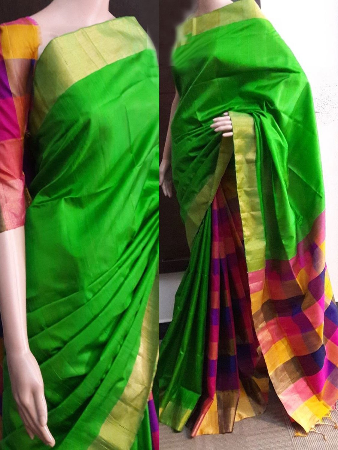 Green Soft Silk Designer Saree UK749
