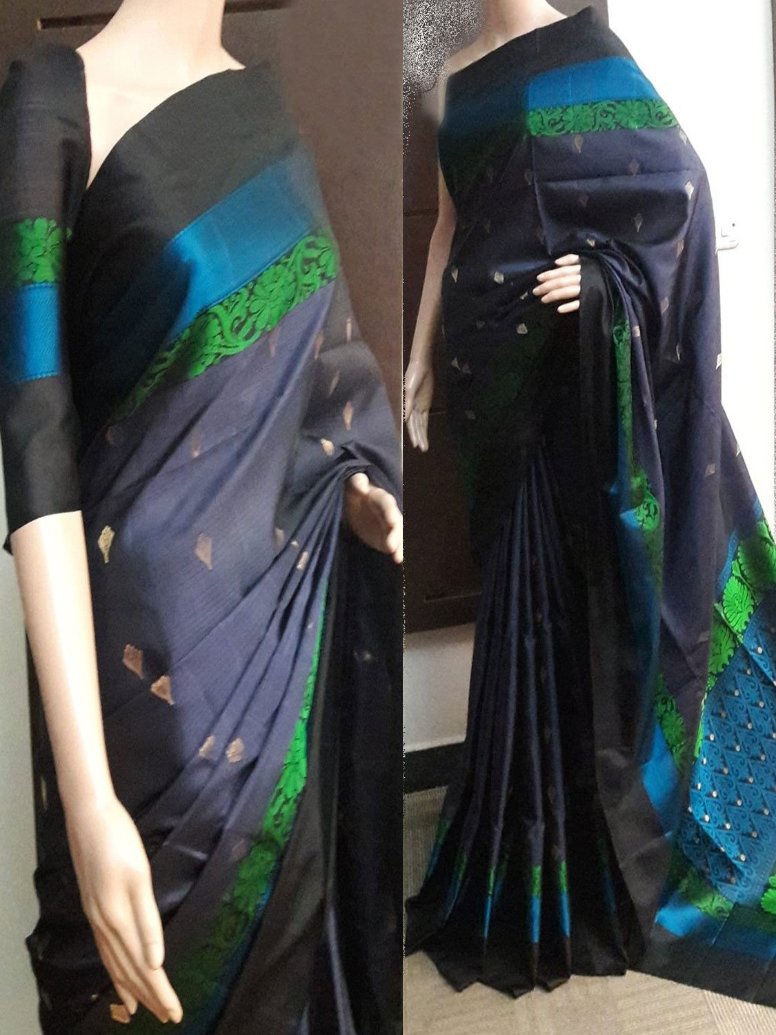 Black Mix colour Soft Silk Designer Saree UK751