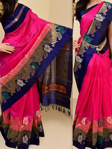 Blue Mix Colour Soft Silk Designer Saree UK780