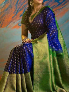 Blue Colour Dotted Soft Silk Designer Saree UK818