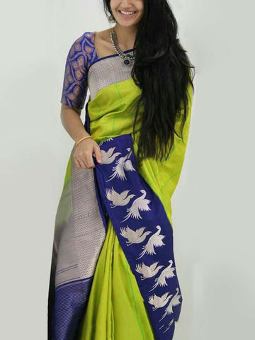Blue Light Green Colour Soft Silk Designer Saree UK898