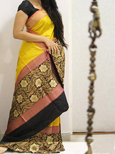 Black Yellow Colour Soft Silk Designer Saree UK957