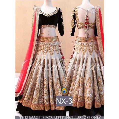 New Designer Off White Color Embroidered Semi Stitched Lahenga Choli
