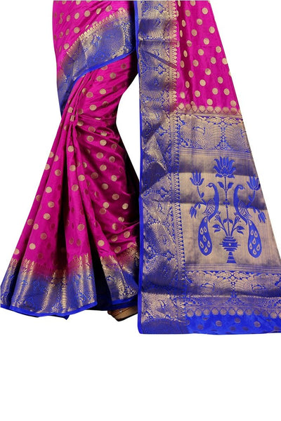 Mangola Border Magenta Color Pure Banarasi Silk Saree